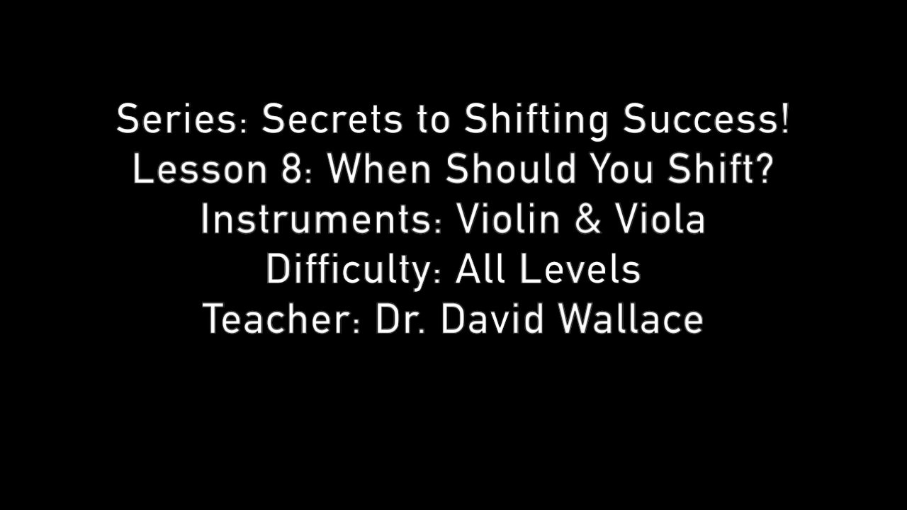 Secrets to Shifting Success – Lesson 8 - When to Shift